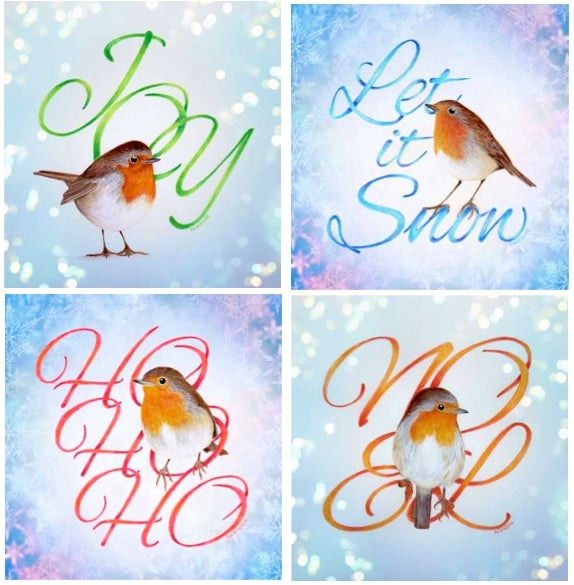 Image of Christmas robin cards (four card set) plus 4 free robin gift tags.