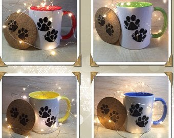 Image of Paw Print ceramic mugs with hand decorated coaster and choccy treat!