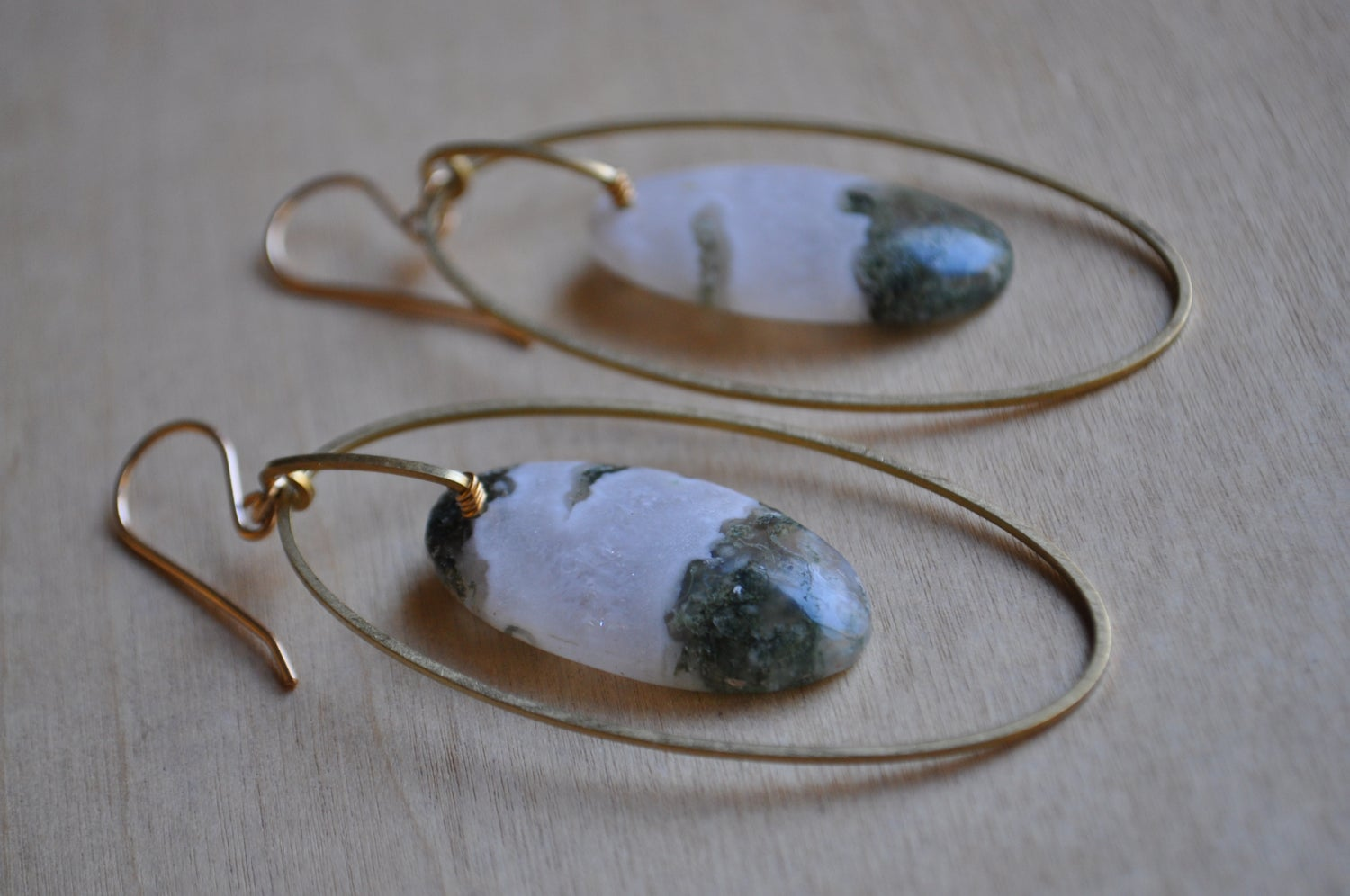 Image of One of a Kind Moss Agate Oval Arc Dangles