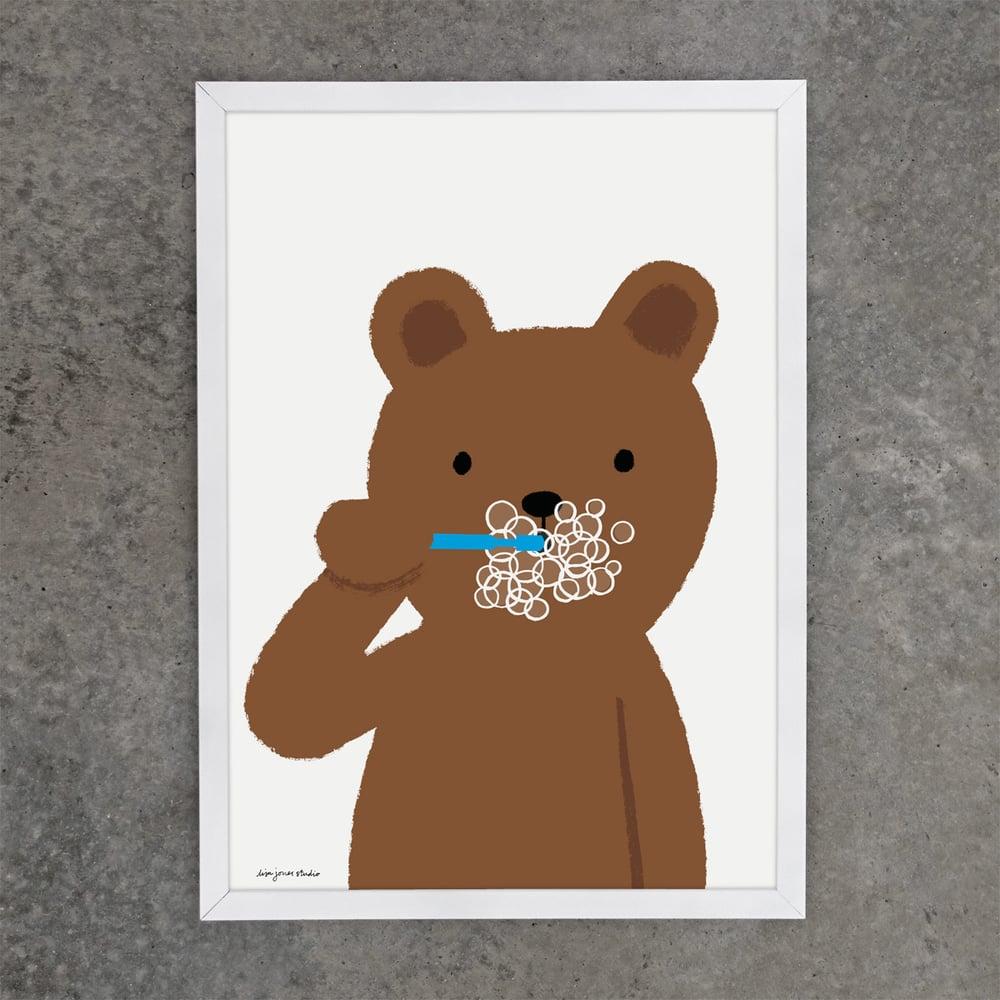 Image of Print | Brushing Bear
