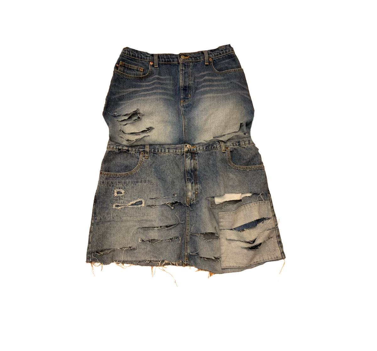 Extended denim skirt