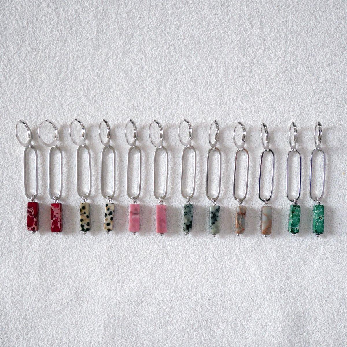 Image of Boucles d'Oreilles DIAZ Longues Argentées - 6 Coloris