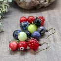 Lampwork earrings with raspberry and blueberry