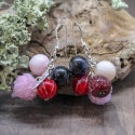 Lampwork earrings with clover and currant berry