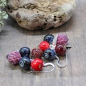 Lampwork earrings with clover and blueberry