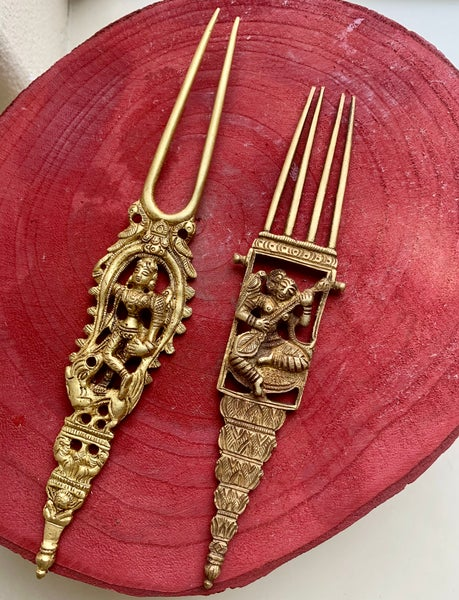 Image of Pair of Vintage style Brass Goddess hair pins