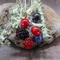 Lampwork pendant with raspberry and blackberry (small)