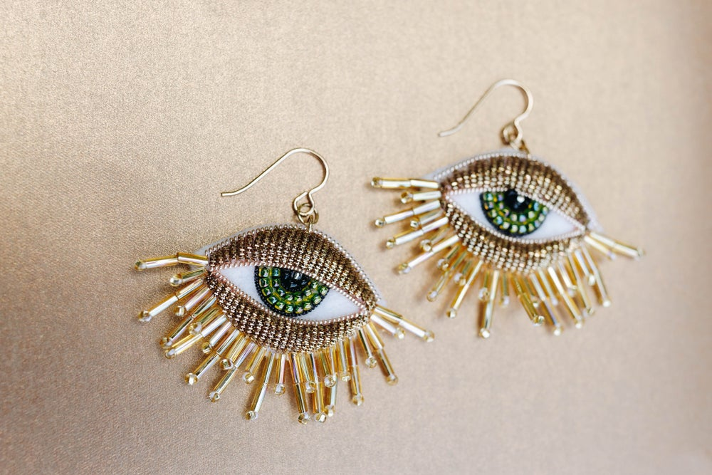 Image of Fringey Eye Earrings in Antique Gold