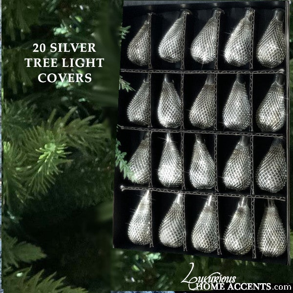 Image of Christmas Tree Light Covers Silver