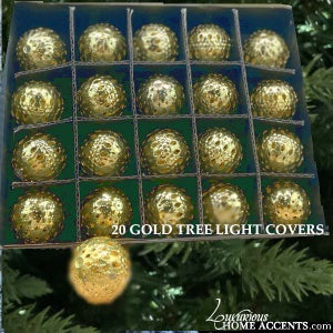 Image of Christmas Tree Light Covers Gold
