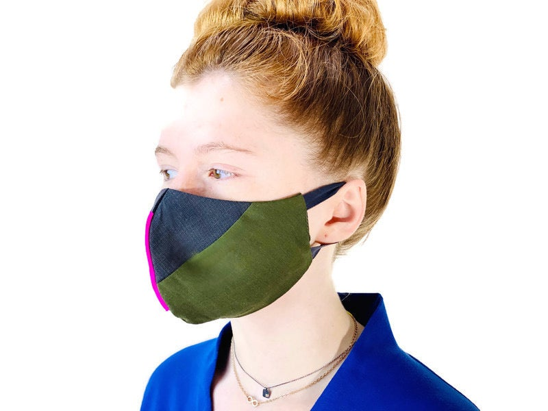 Image of face mask olive/gray wool suiting