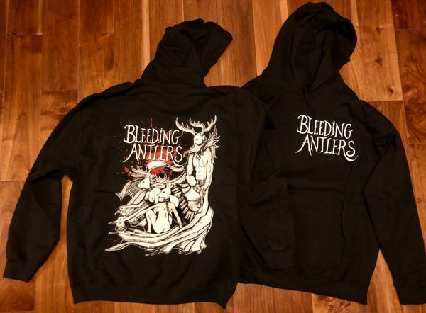 Image of Bleeding Antlers - 'Stag King' Hoodie with front and back print