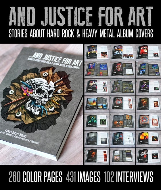 "Image of  ""...AND JUSTICE FOR ART: STORIES ABOUT HARD ROCK & HEAVY METAL ALBUM COVERS."""