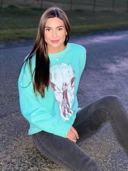 Image of Adult Cow Skull sweatshirt