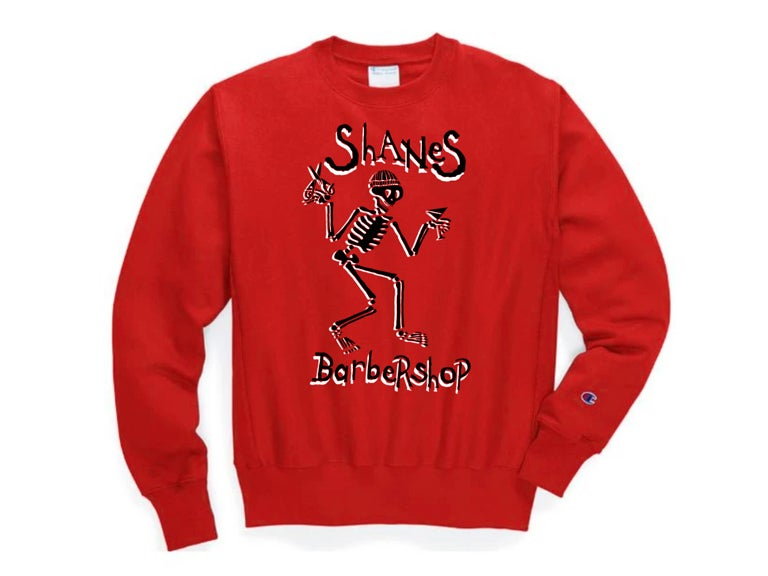 """Image of Shane's """"Distorted"""" Crewneck Sweater (Red)"""