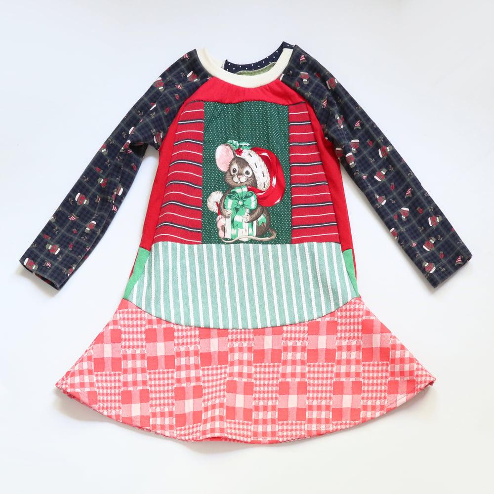 Image of cat and mouse 5T Christmas long sleeve holiday dress vintage fabric long-sleeved xmas cute Santa