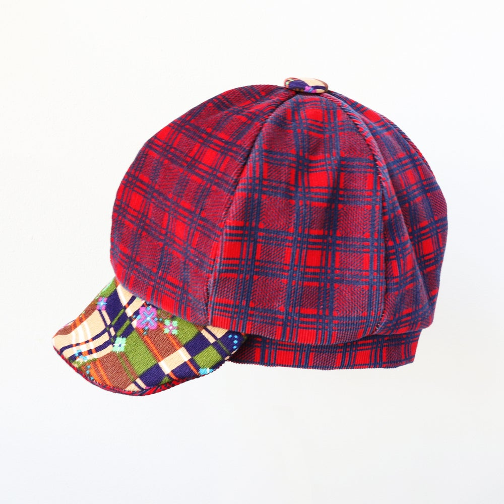 Image of plaid party plaid courtneycourtney tween teen adult vintage fabric six panel newsie newsboy cap