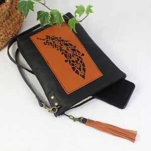 Image of Leather Feather Dance Bag - Black & Tan