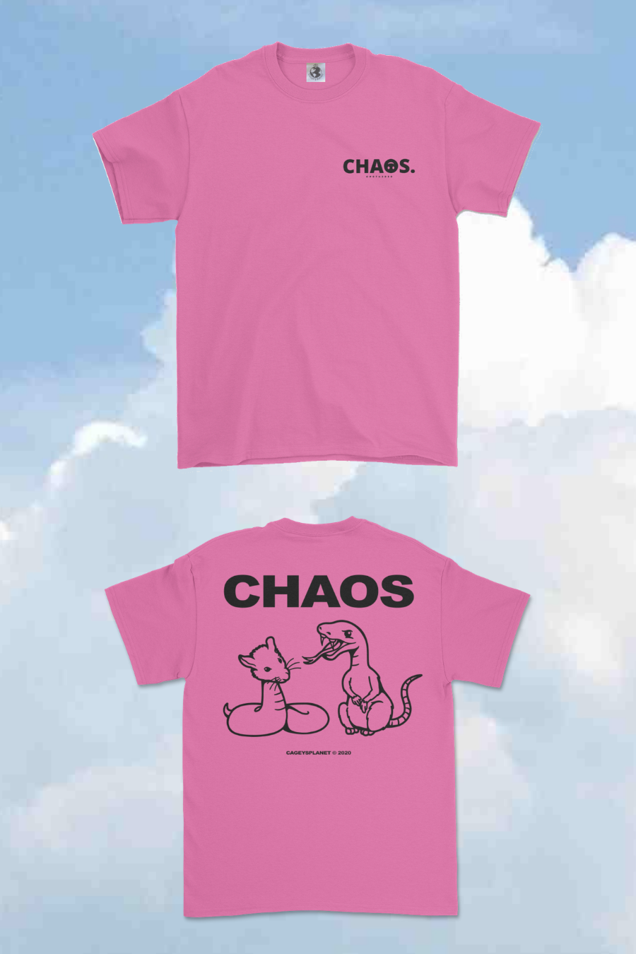 Image of CHA☺S CP07 TEE (PINK X BLACK)