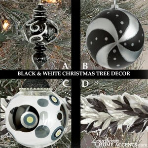 Image of Black and Silver Christmas Tree Ornaments