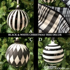 Image of Black and White Christmas Tree Decorations