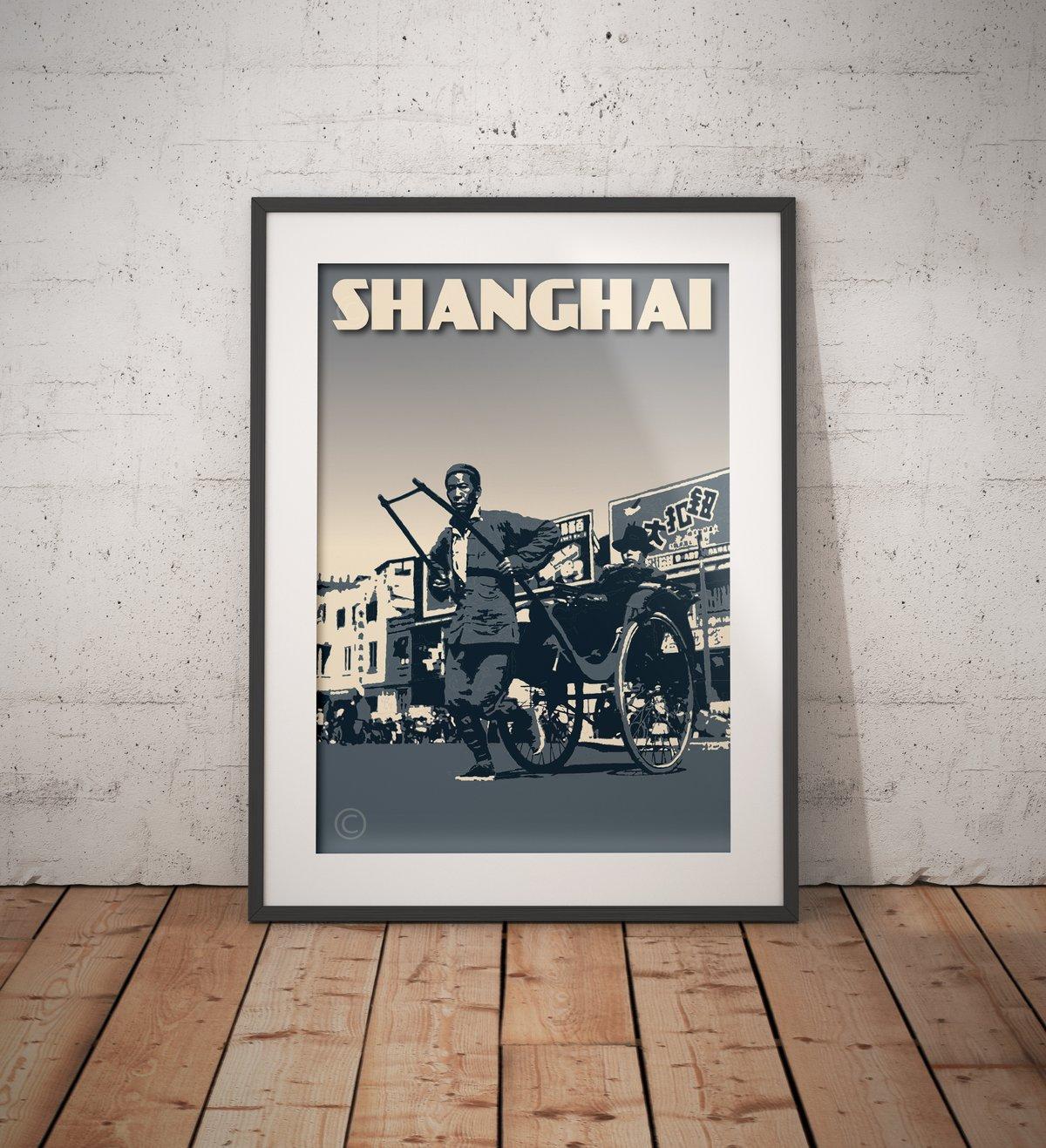 Image of Vintage Poster Shanghai - Chinese Rickshaw - Gray - Fine Art Print