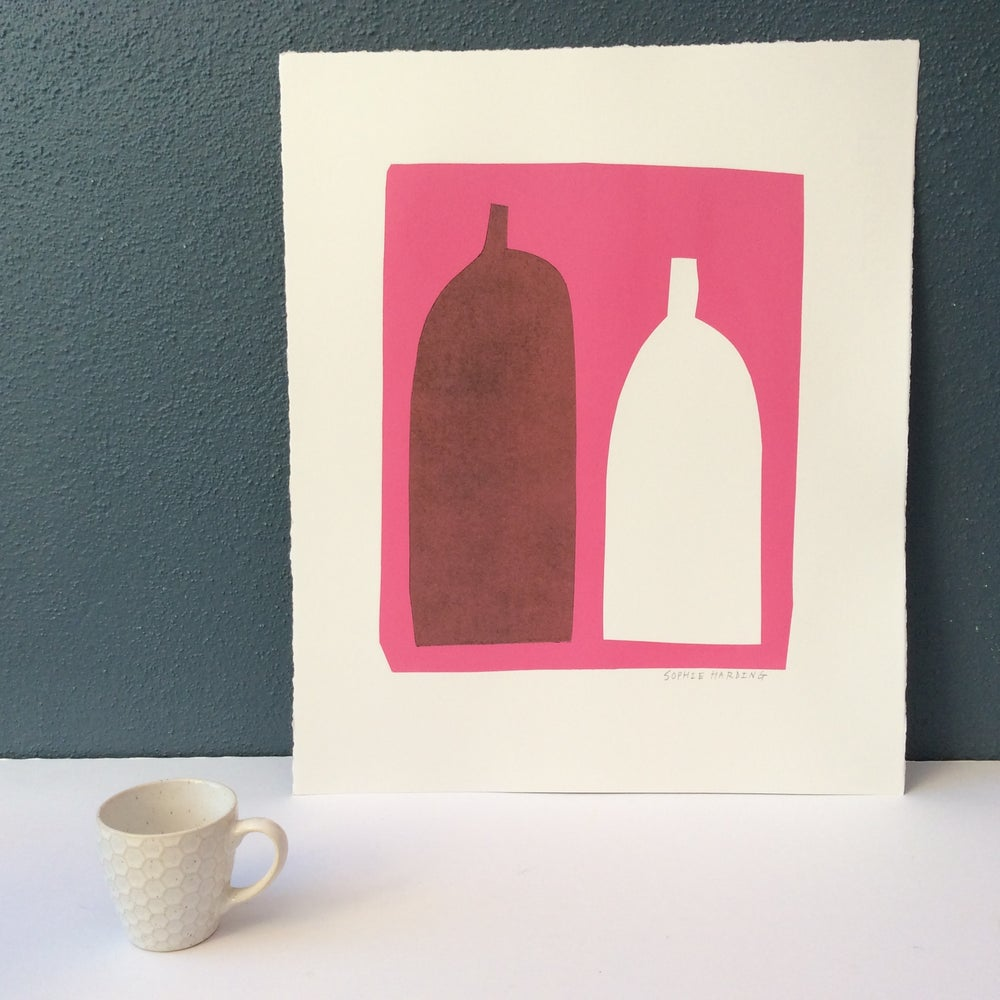 Image of Bottles on Pink