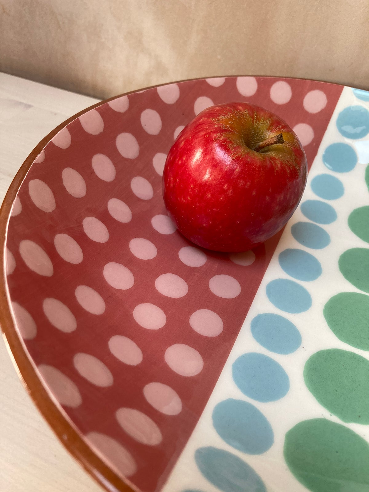 Large Shallow Bowl (Pink. Blue, Green Spots)