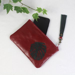 Image of Leather Phone Purse - Monstera Red