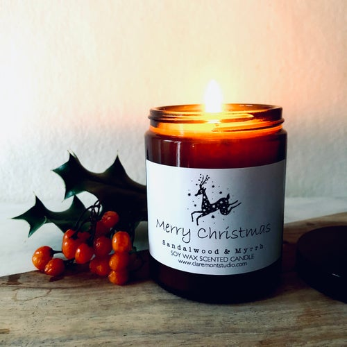 Image of Merry Christmas Candle & Joy is Now Matches Gift Box