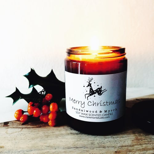 Image of Merry Christmas Candle & Deer Matches Gift Box