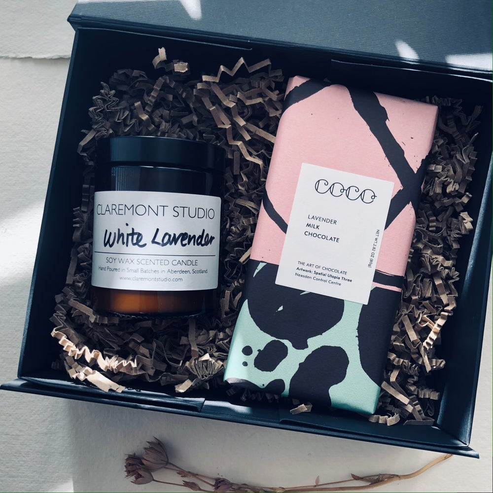 Image of Lavender Lovers Candle & Chocolate Gift Box