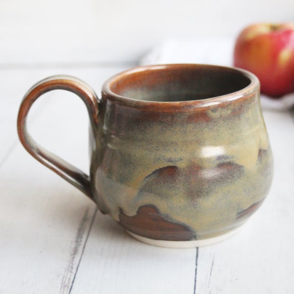 Image of Large Pottery Mug in Sage Green and Brown Glazes, Made in USA