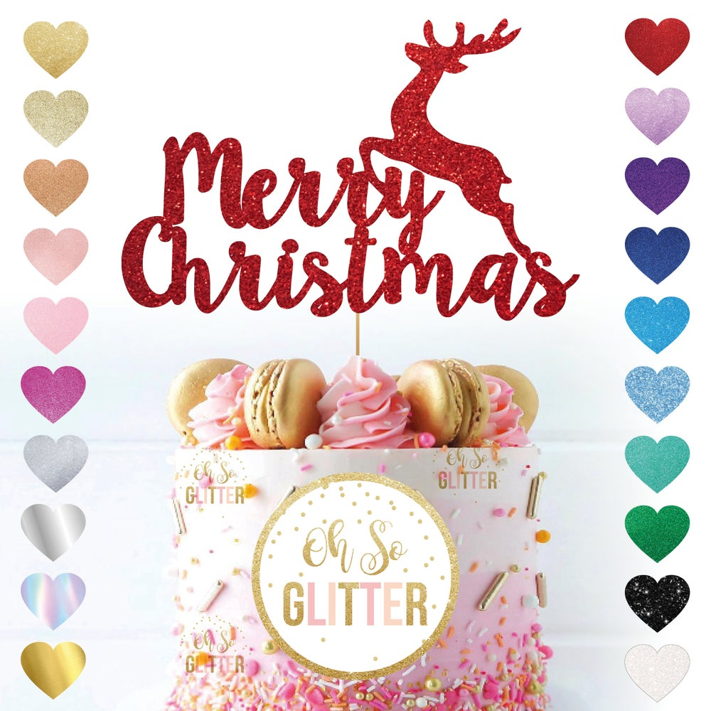 Image of Merry Christmas Reindeer Cake Topper