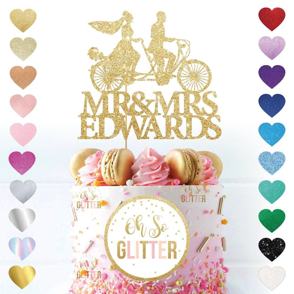 Image of Customised Mr & Mrs Tandem Cake Topper