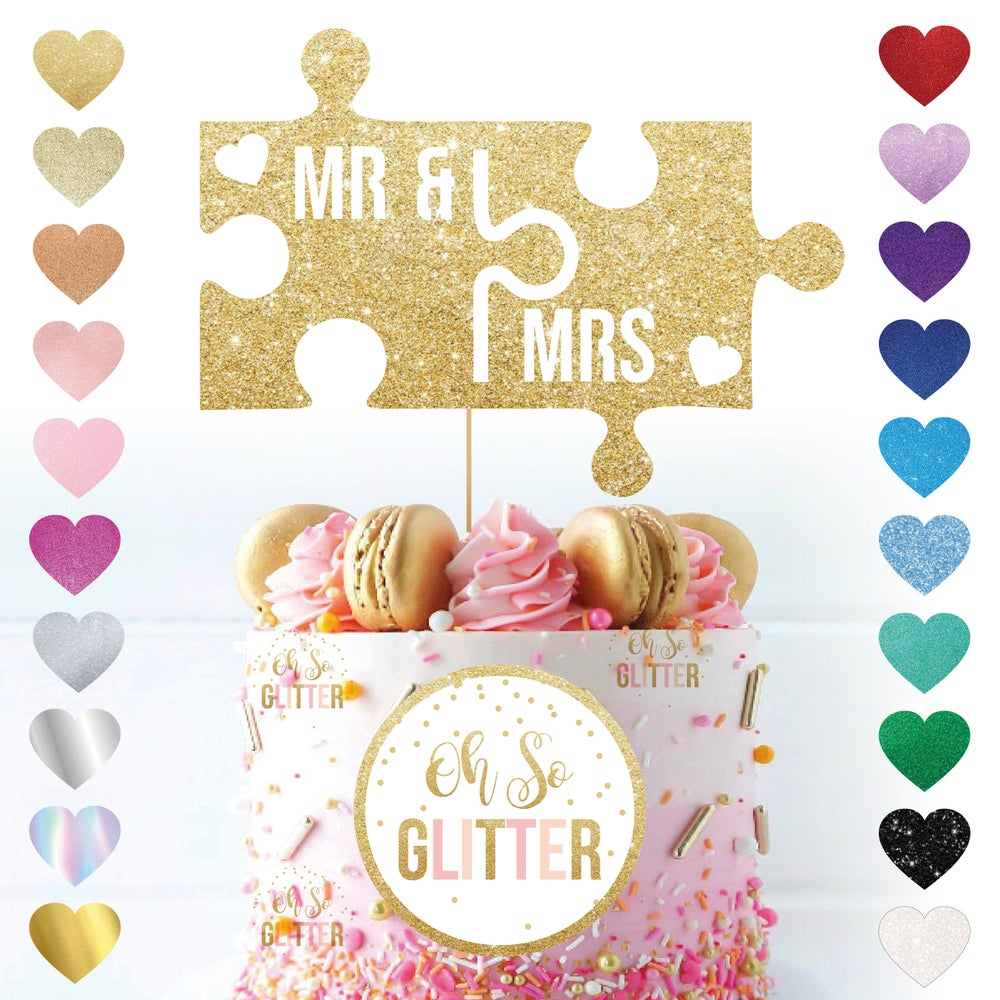 Image of Mr & Mrs Jigsaw Wedding Cake Topper