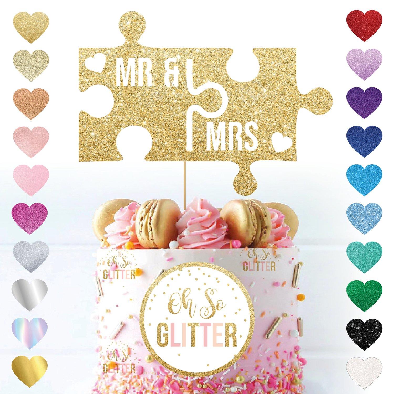 Image of Mr & Mrs Jigsaw Wedding Cake Topper