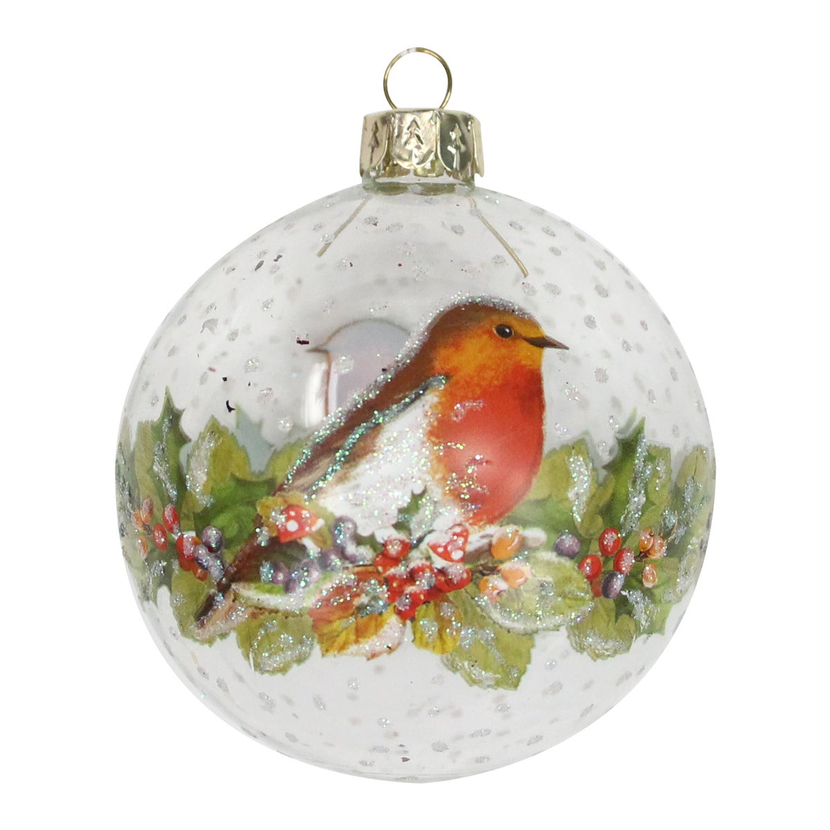 Image of Gisela Graham Clear Glass Painted Robin &Fruit Bauble