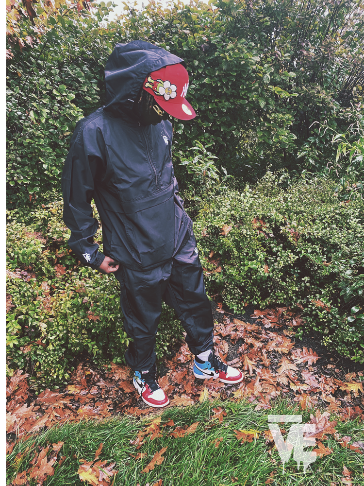Image of Black Unisex Windbreaker Set
