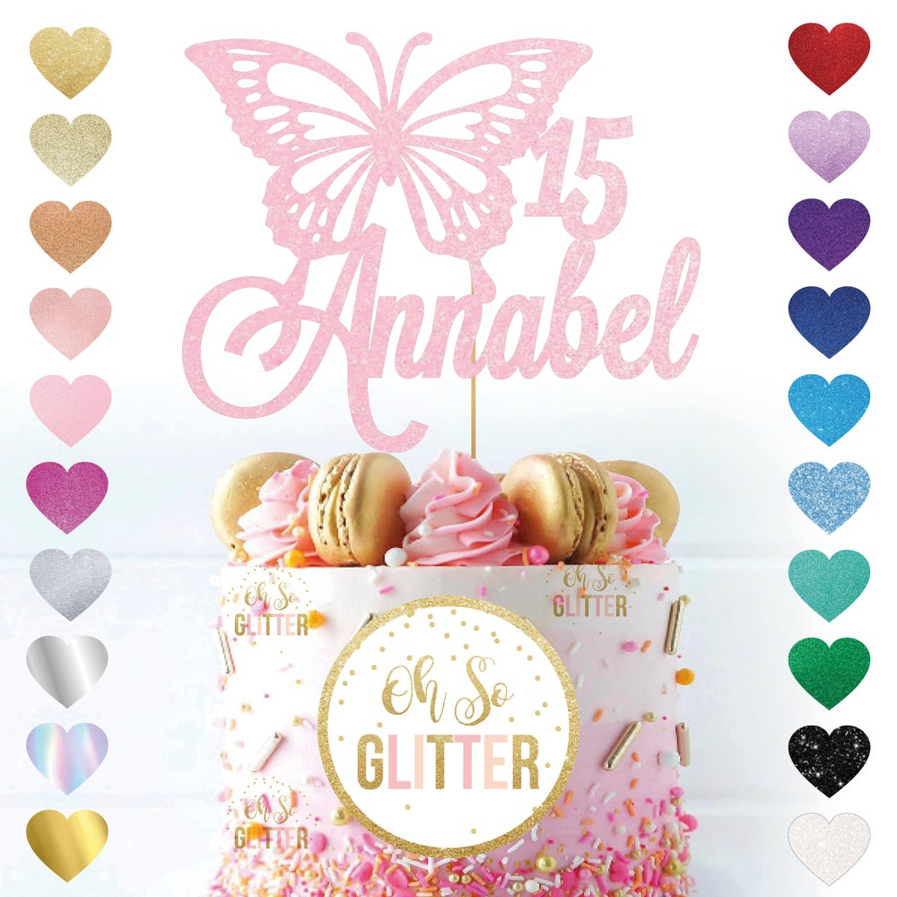 Image of Customised Large Butterfly Name Age Cake Topper