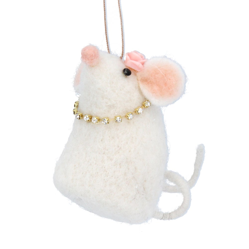 Image of Gisela Graham Wool Mix White Mouse with Diamanté Necklace