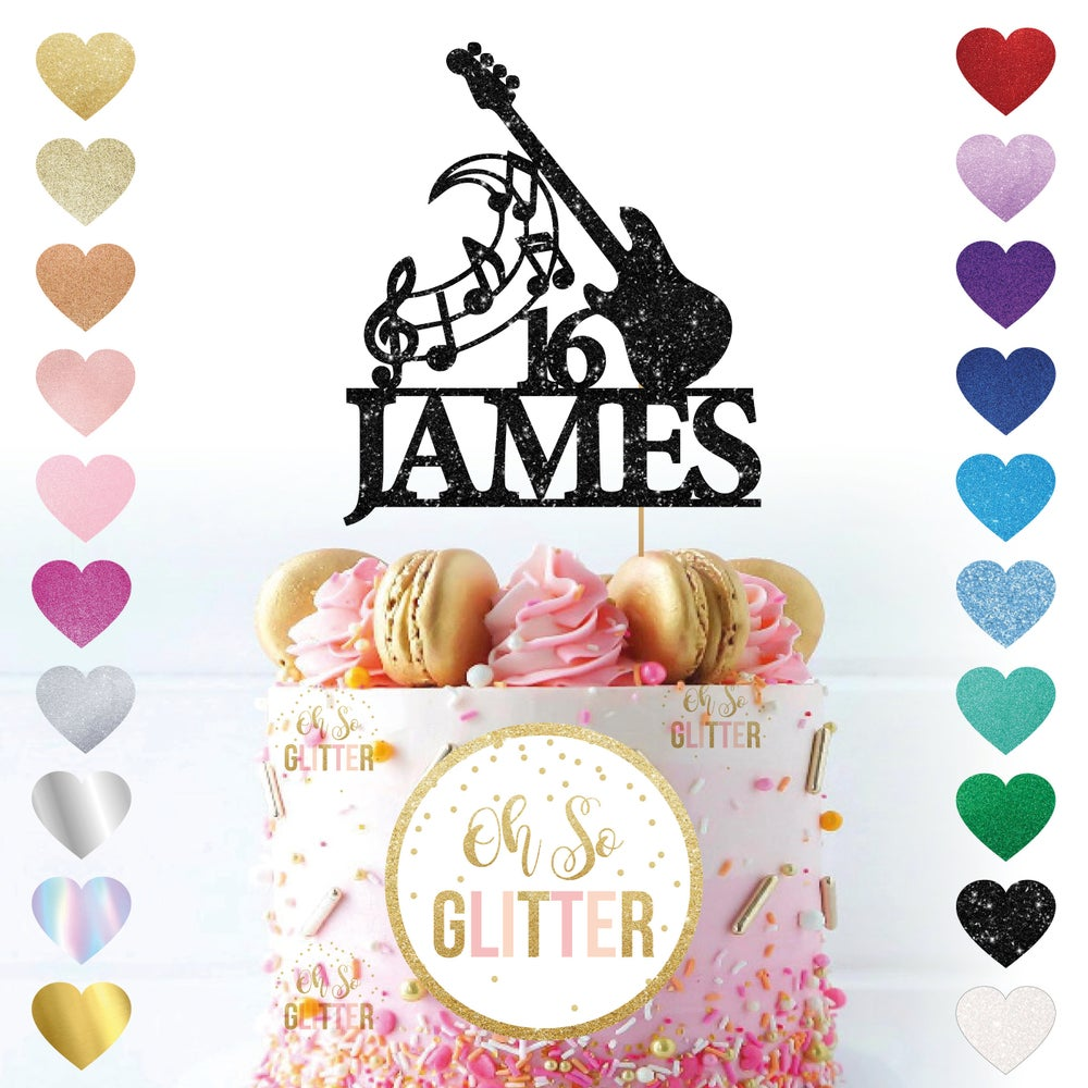Image of Customised Guitar Name Age Cake Topper