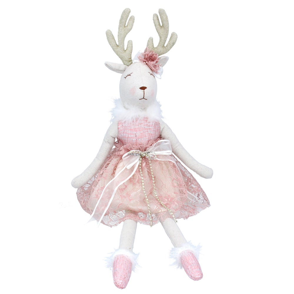 Image of Gisela Graham Fabric Reindeer with Pink Dress