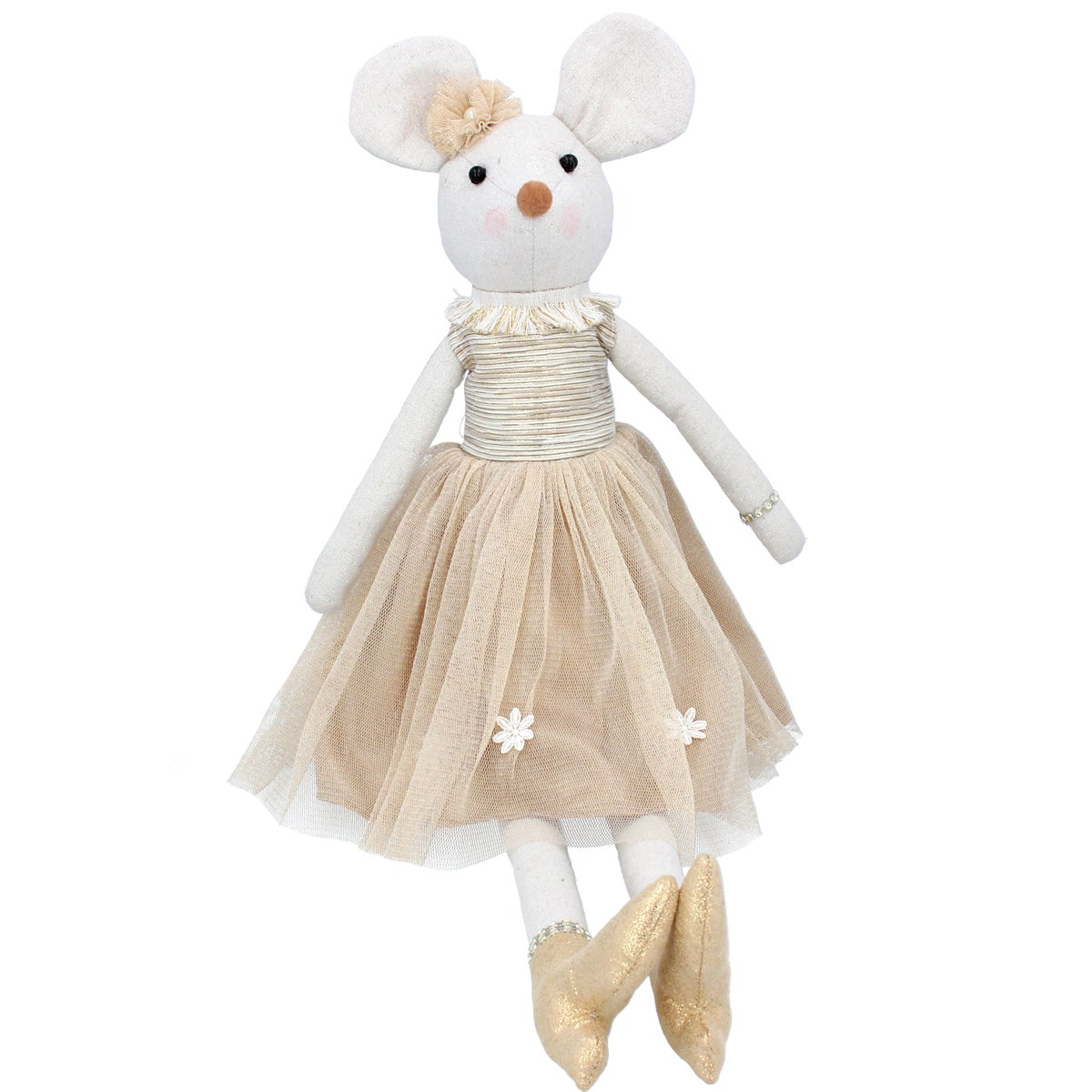 Image of Gisela Graham Fabric Mouse with Gold Dress