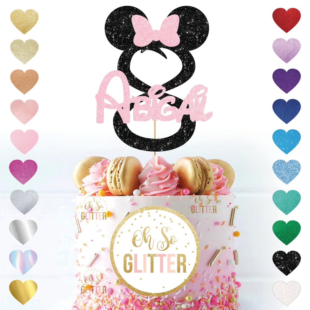 Image of Minnie Mouse Age Name Cake Topper