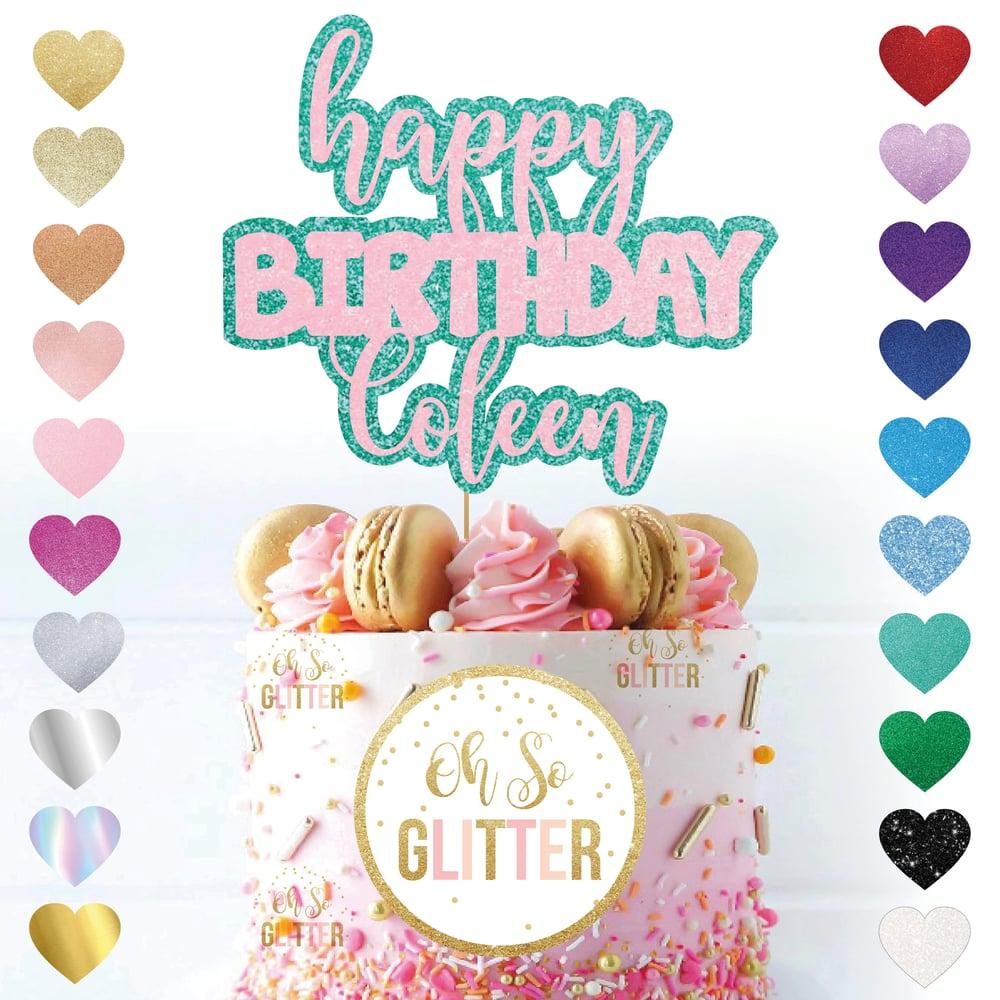 Image of Custom Happy Birthday Name Cake Topper