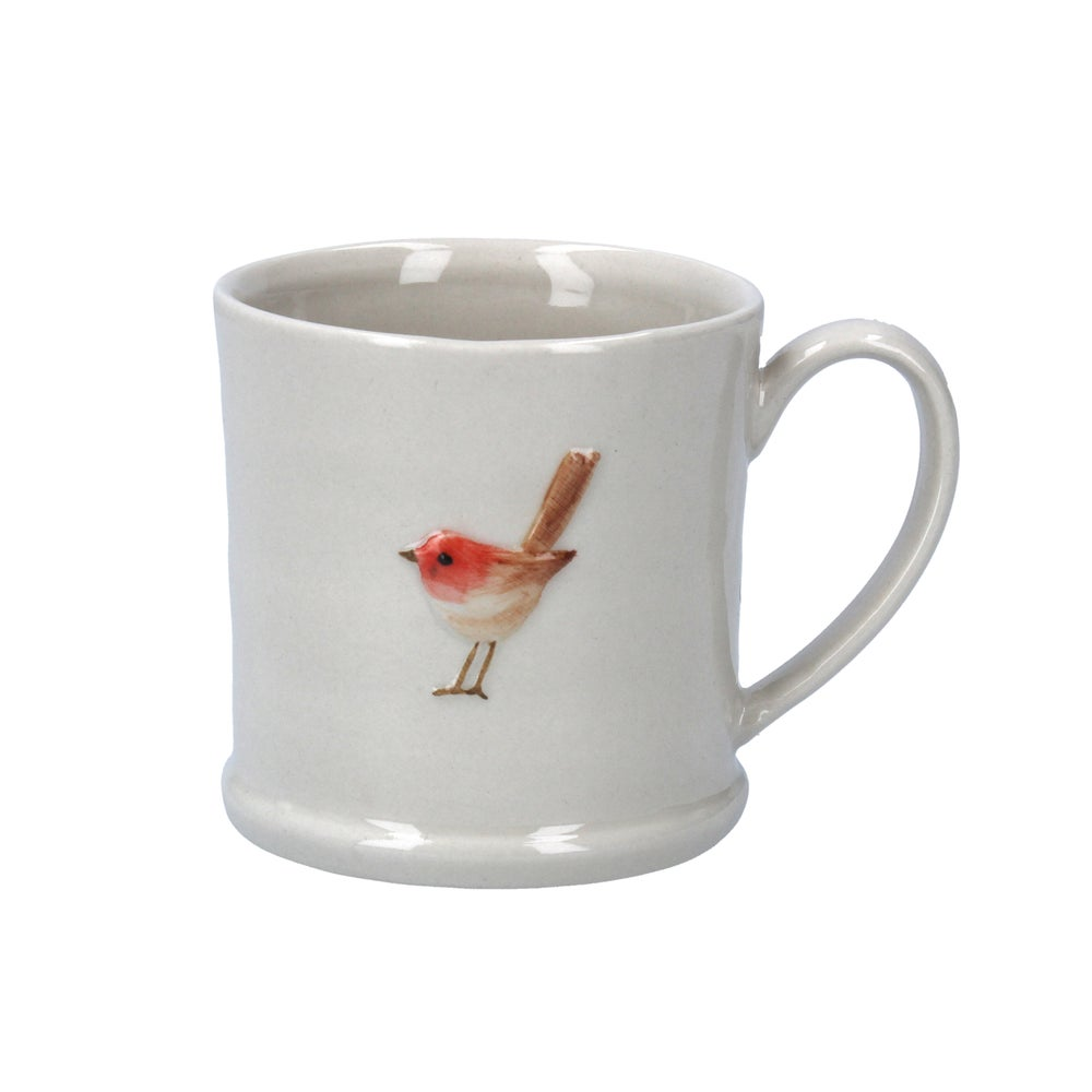 Image of Gisela Graham Ceramic Mini Mug with Robin