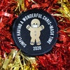 Simply having a wonderful Chris-mask time masked Gingerbread man patch