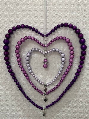 Image of Glow Bead Trio Of Beaded Hearts & Heart Within Heart