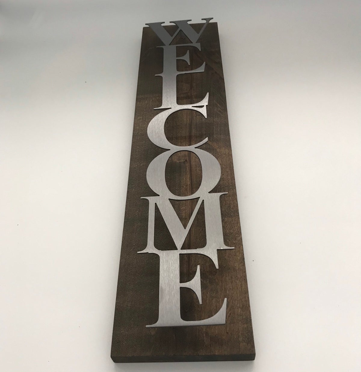 Welcome Sign with Block Text on Knotty Alder